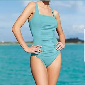 KELVIN KLEIN PLEATED FRONT ONEPICE SWIMSUIT